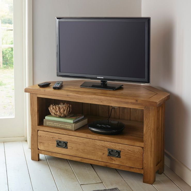Rustic Corner Tv Unit In Solid Oak Oak Furnitureland