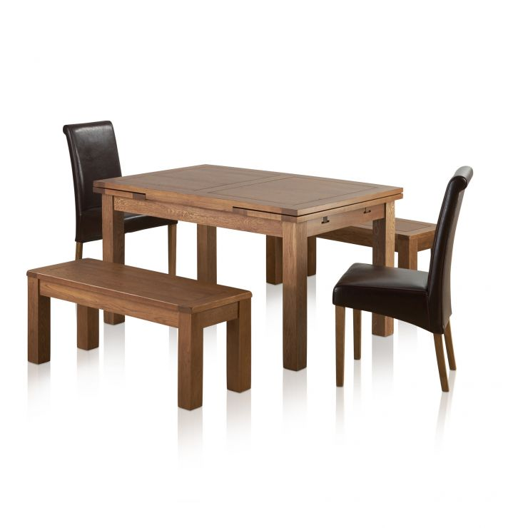 Sherwood Oak Dining Set 4ft 7 Extending Table With 2 X 3ft 7 Benches And 2 X Scroll Back Brown Leather Chairs