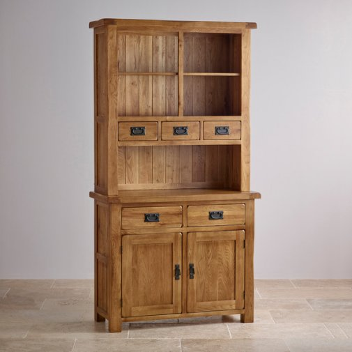 Original Rustic Solid Oak Small Dresser