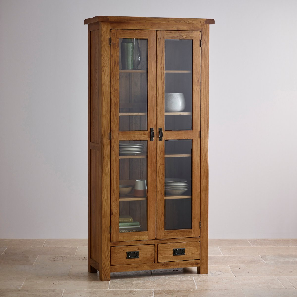 Rustic Oak Kitchen Cabinets: Original Rustic Glazed Display Cabinet In Solid Oak