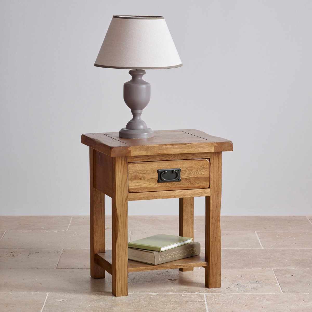 Original rustic lamp table in solid oak oak furniture land for Oak lamp table 60cm high