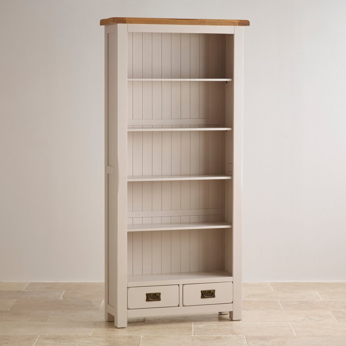 Kemble Large Bookcase In Painted Rustic Solid Oak