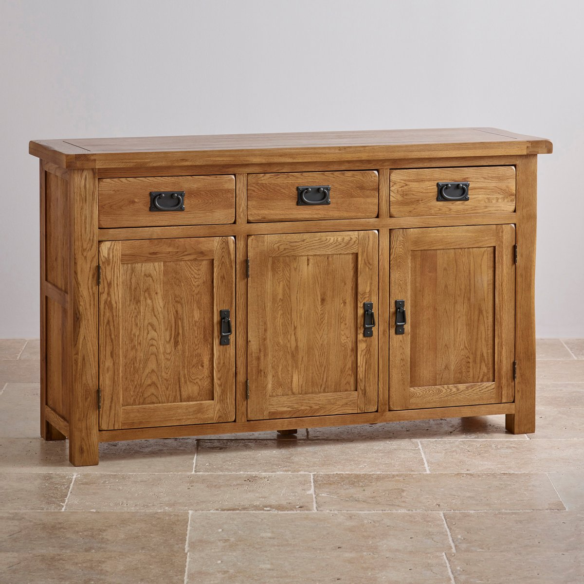 Original rustic large sideboard in solid oak oak for Solid oak furniture