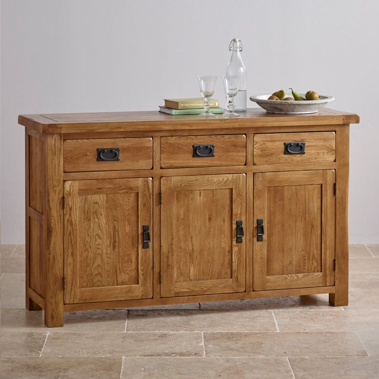 Large Rustic Sideboard In Solid Oak Oak Furnitureland
