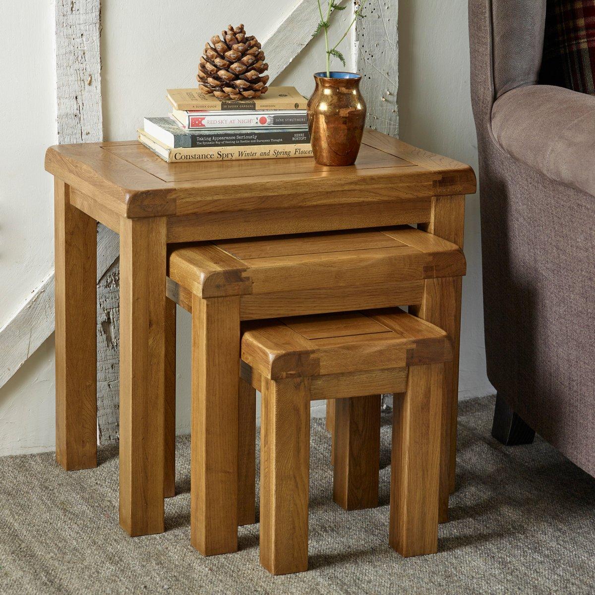 original nest of 3 tables in rustic oak oak furniture land. Black Bedroom Furniture Sets. Home Design Ideas