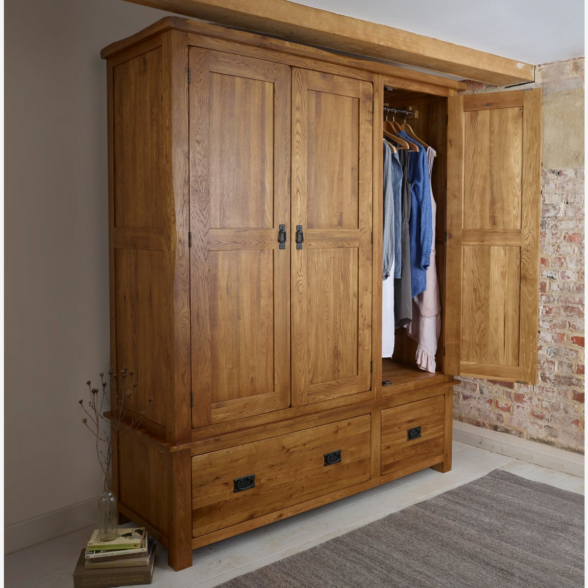 Original Rustic Triple Wardrobe In Solid Oak Oak