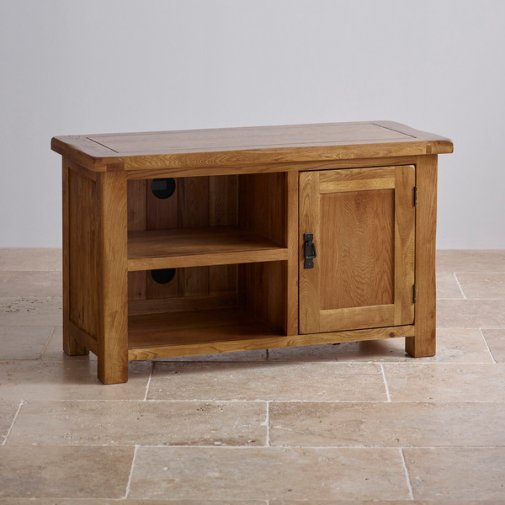 Original Rustic Solid Oak TV Cabinet