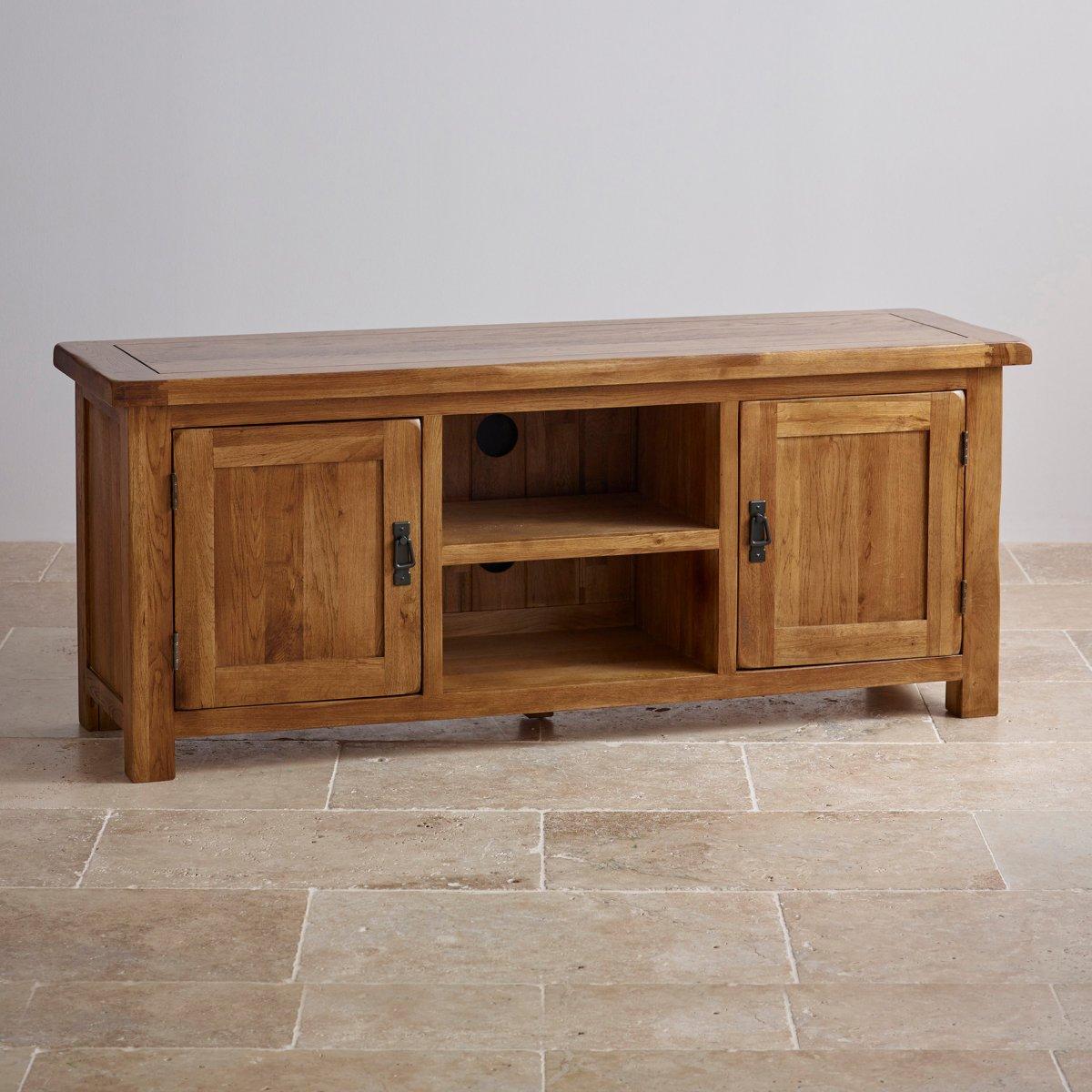 Original Rustic Wide Tv Cabinet In Solid Oak Oak