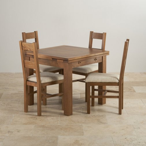 Rustic Solid Oak Dining Set - 3ft Extending Table with 4 Farmhouse and Plain Beige Fabric Chairs