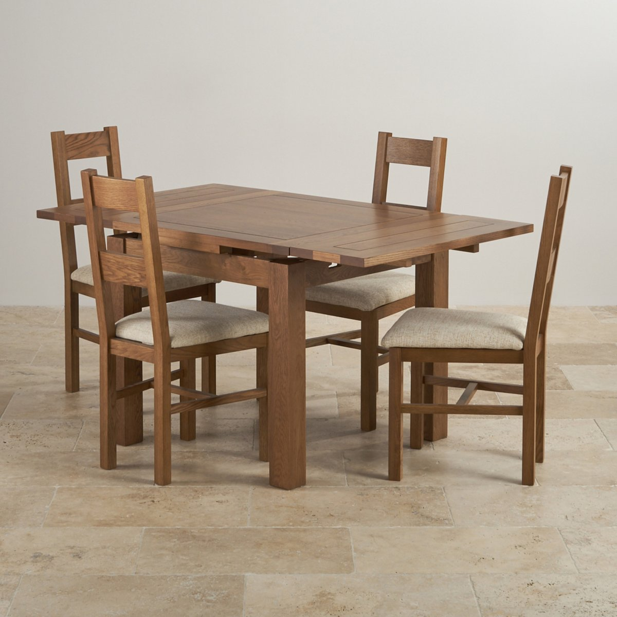 Rustic oak dining set 3ft table with 4 beige chairs for Oak dining chairs
