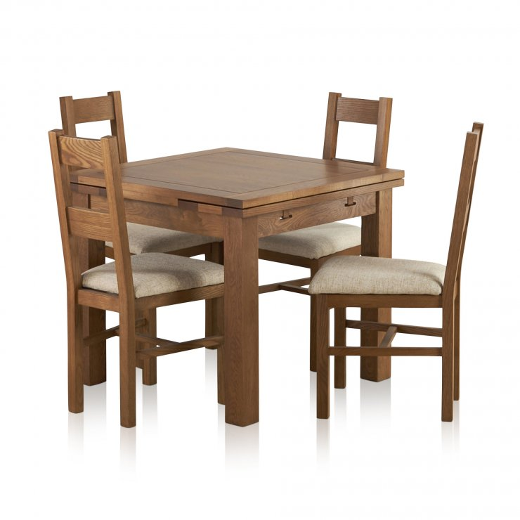 Extendable Dining Set In Rustic Brushed Solid Oak: 3ft Table With 4 Beige Chairs