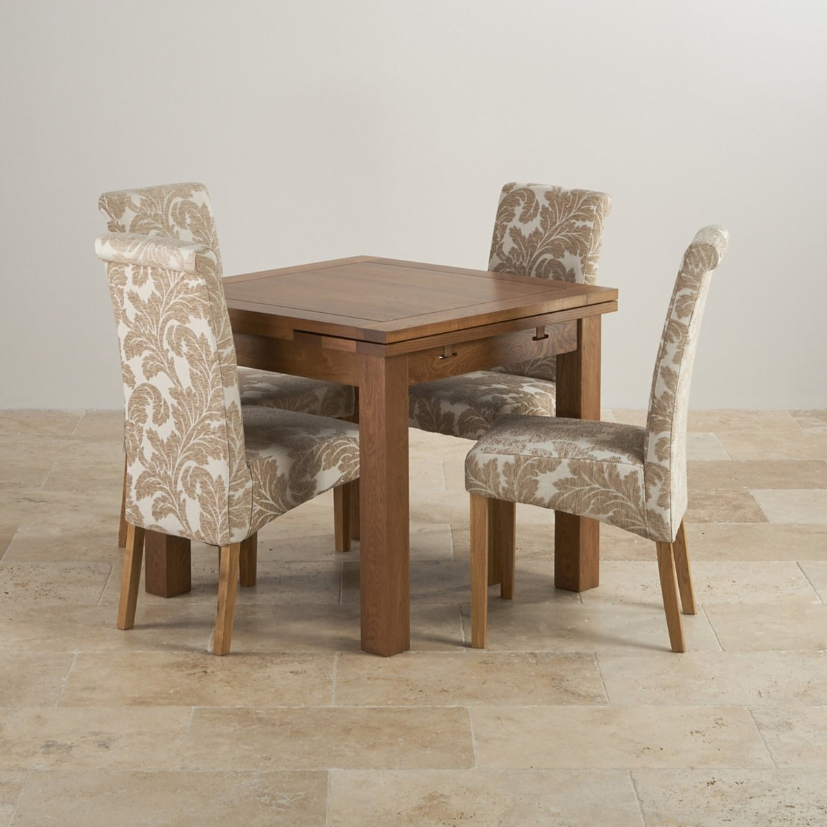 3ft Table With 4 Beige Chairs: Rustic Dining Set In Oak: Extending Dining Table + 4 Chairs