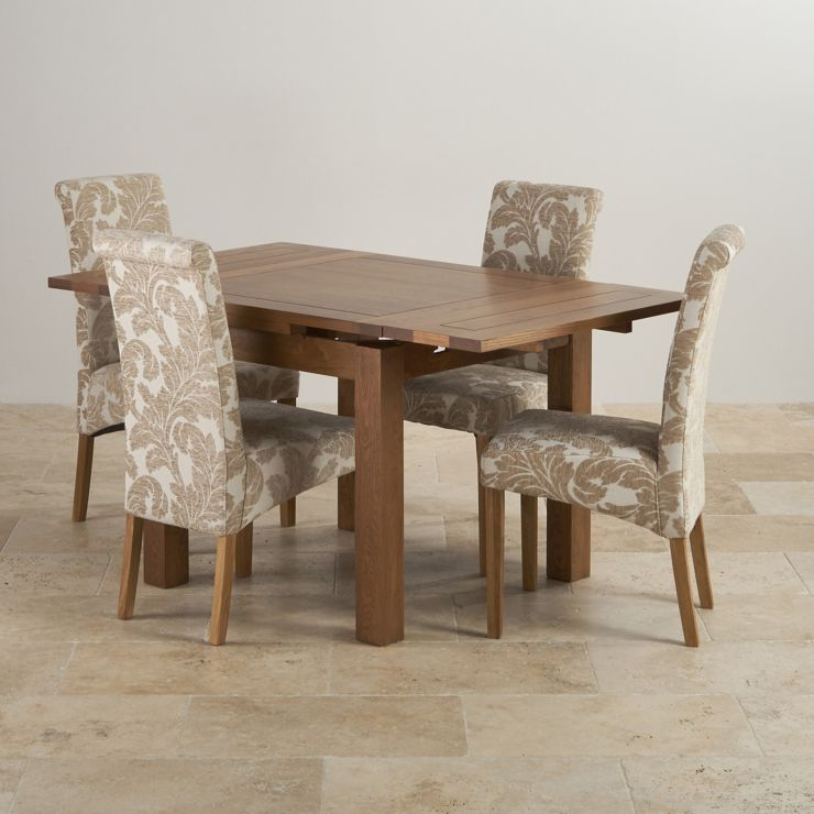 3ft Table With 4 Beige Chairs: Rustic Dining Set: Extending Dining Table + 4 Patterned