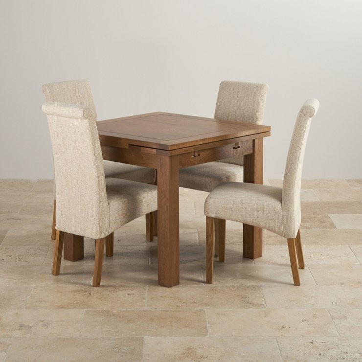 Extending Dining Table In Rustic Oak With 4 Beige Fabric Chairs
