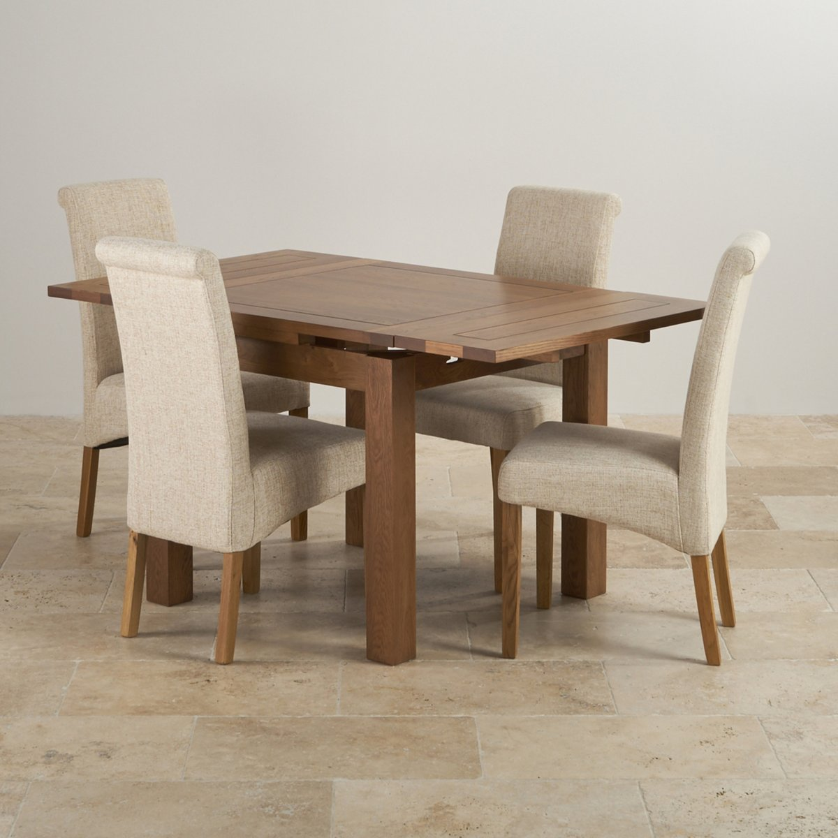 extending dining table in rustic oak with 4 beige fabric. Black Bedroom Furniture Sets. Home Design Ideas
