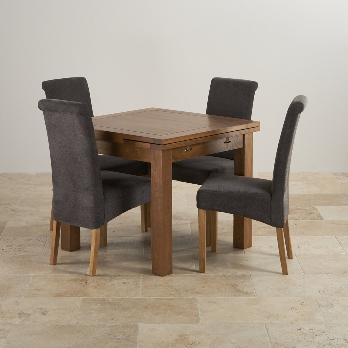 Rustic Oak Dining Set: 3ft Extending Table + 4 Scroll Back