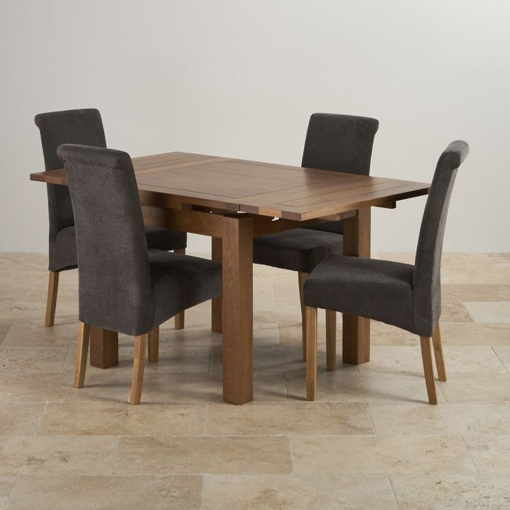 Rustic Oak Dining Set: 3ft Extending Table + 4 Scroll Back