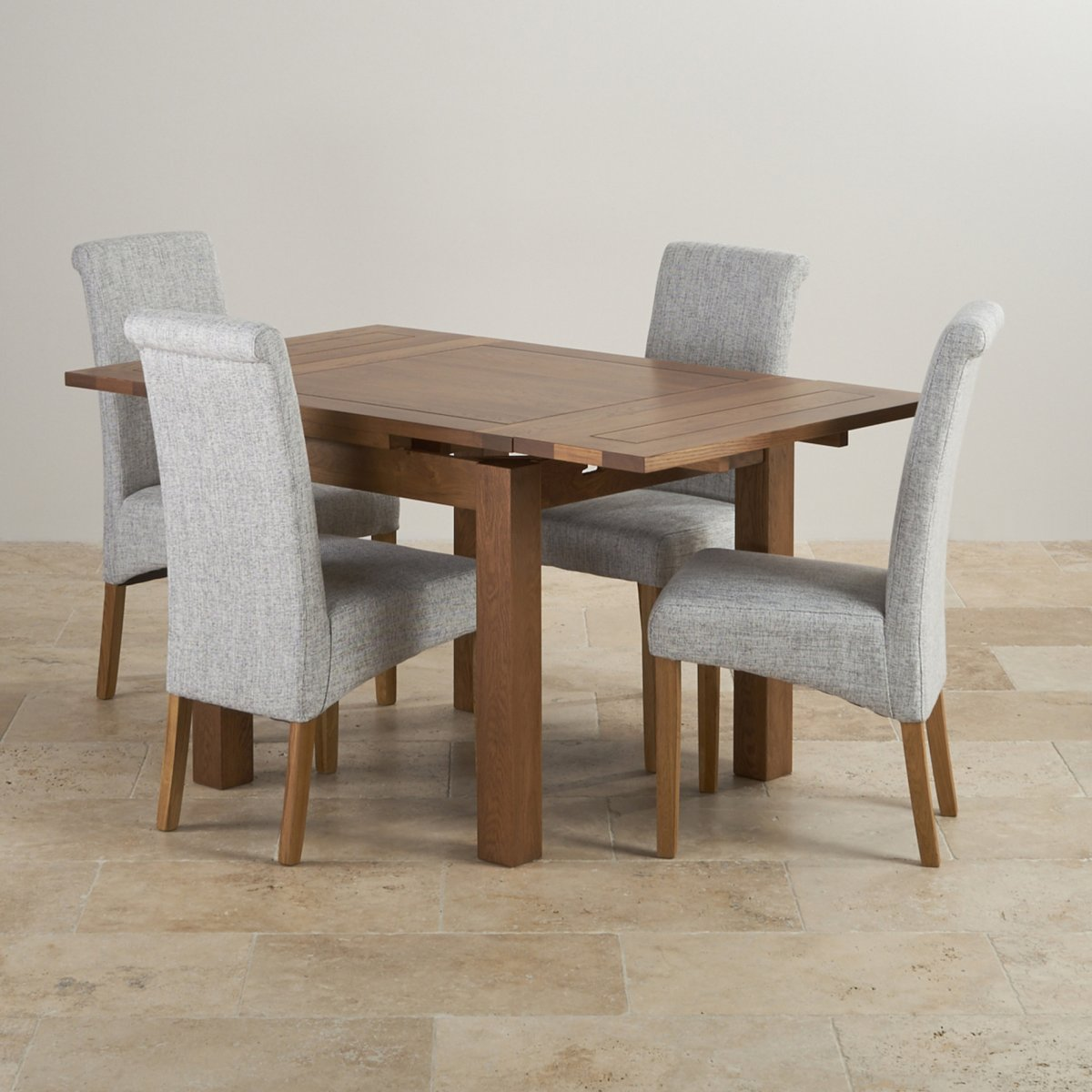 Rustic Solid Oak Dining Set   3ft Extending Table With 4 Scroll Back Plain  Grey Fabric Chairs