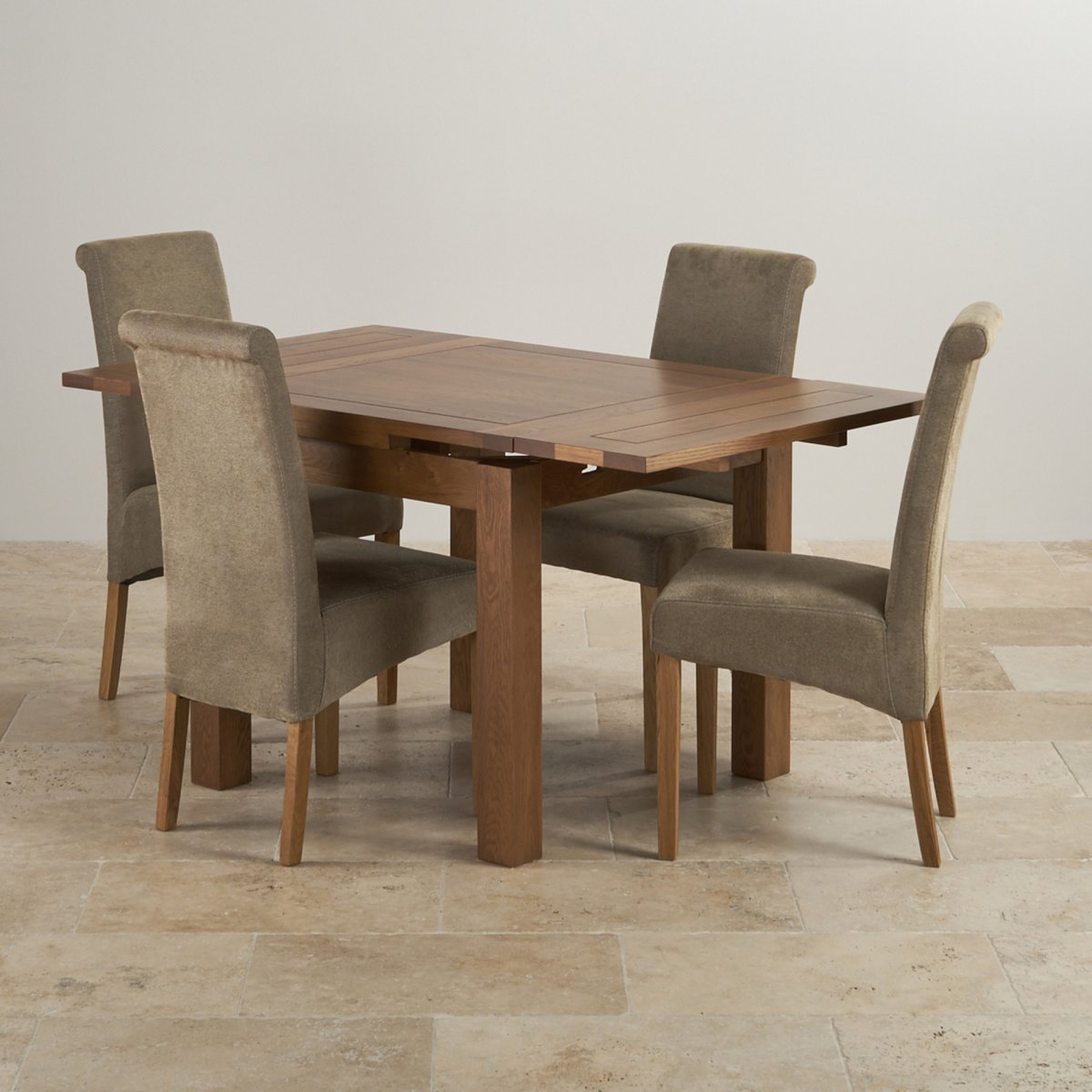 Extendable Dining Set In Rustic Brushed Solid Oak: Rustic Dining Set In Real Oak: Extending Table + 4 Sage Chairs