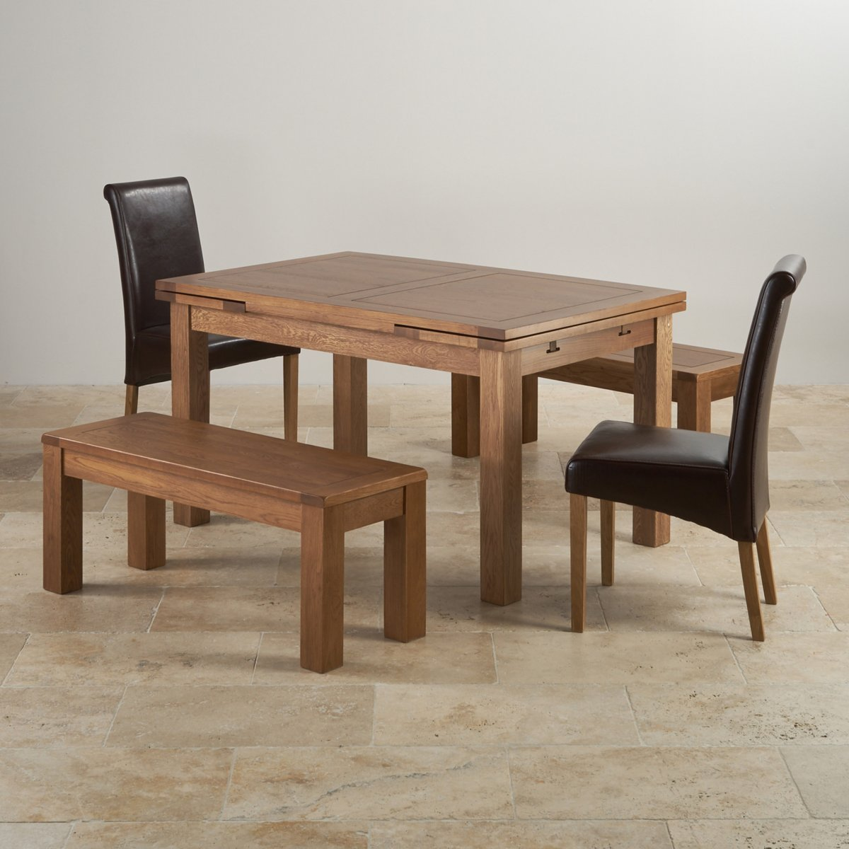 Set Of 2 Dining Room Furniture Brown Leather Dining: Rustic Oak Dining Set: Extending Table + 2 Benches And 2
