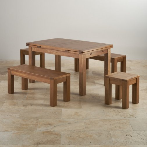 "Rustic Oak Dining Set - 4ft 7"" Extending Table With 2 x 3ft 7"" Benches and 2 Square Stools"