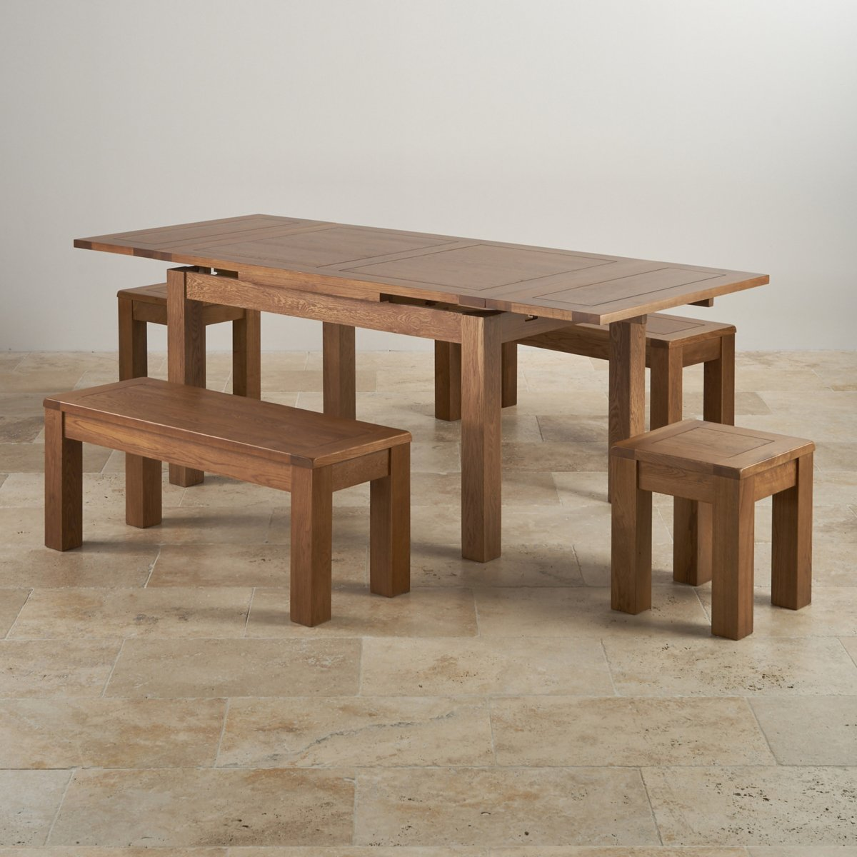 Rustic Oak Extending Dining Table 2 Benches And 2 Stools