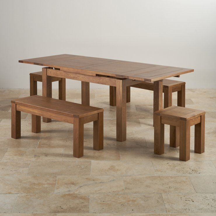 Rustic Oak Extending Dining Table 2 Benches and 2 Stools : rustic solid oak dining set 4ft 7 extending table with 2 x 3ft 7 benches and 2 x square stools 56eab8dab01557c50bcb376ceaf8d562966a14282924e from www.oakfurnitureland.co.uk size 740 x 740 jpeg 68kB