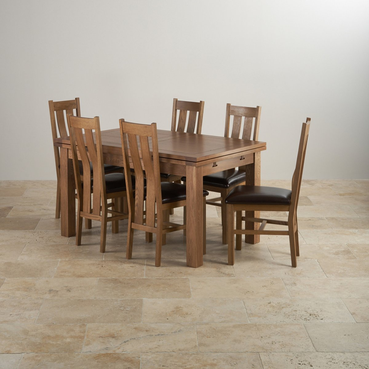 Oak Dining Room Furniture: Rustic Oak Extending Dining Table + 6 Arched Back Leather