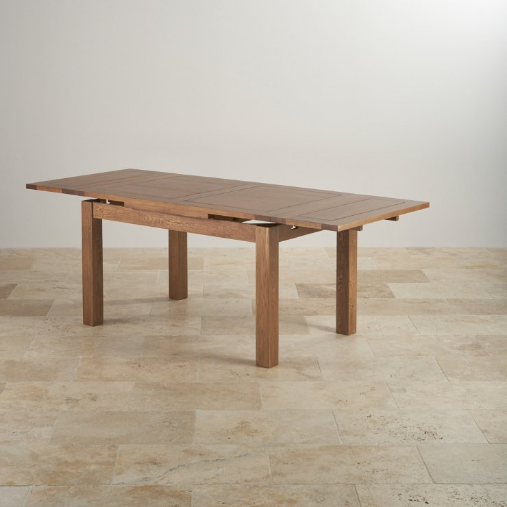 Rustic oak 4ft 7 dining table with 6 arched chairs for 4ft sofa table