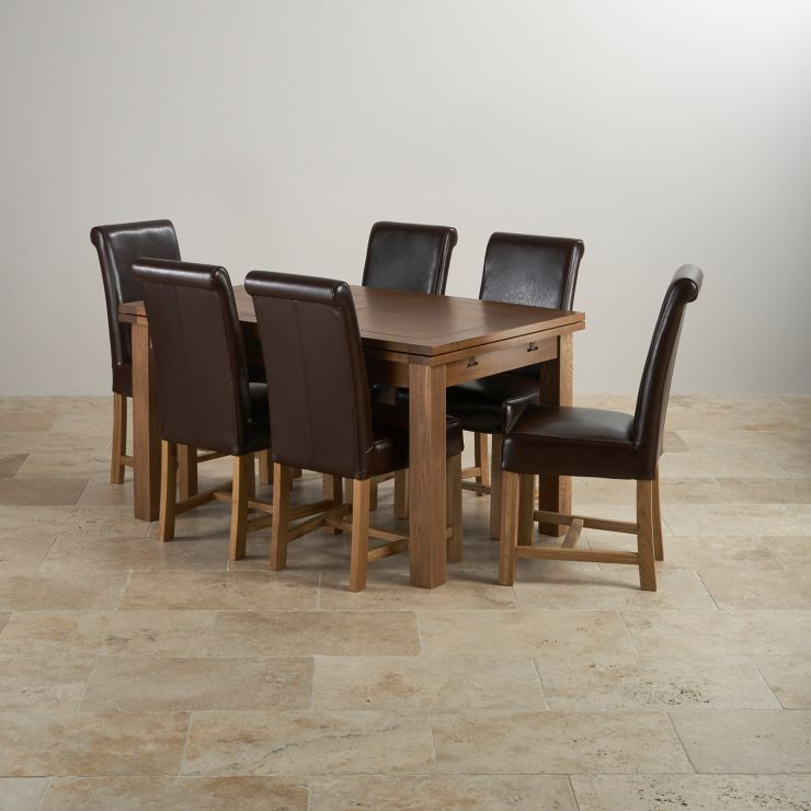 Rustic Oak Extending Dining Set