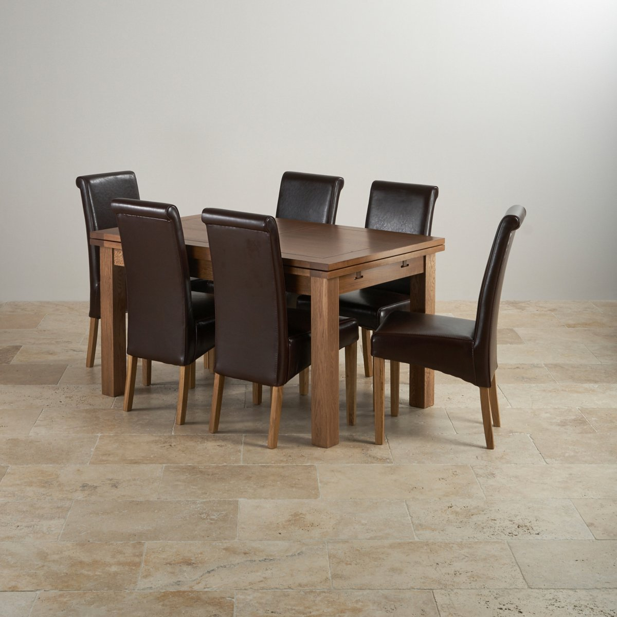 Rustic oak dining set 4ft 7 extending table with 6 brown - Extended dining table sets ...
