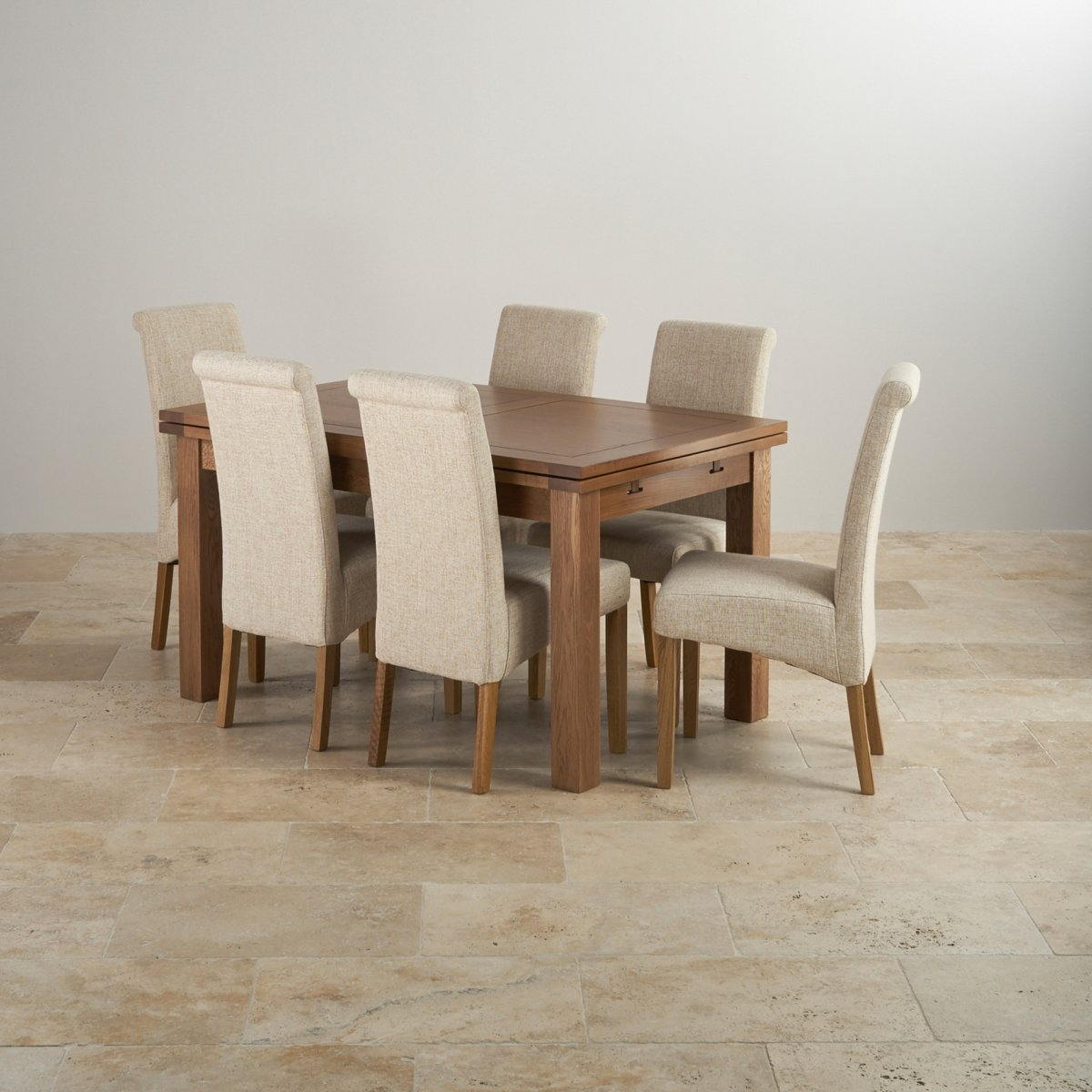 Rustic Oak Extending Dining Set Table 6 Scroll Back Chairs