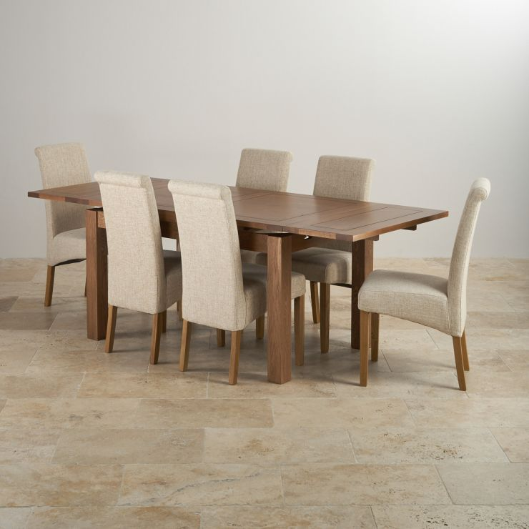 Rustic Oak 4ft 7 Dining Table With 6 Sage Chairs: Rustic Oak Extending Dining Set: Table + 6 Scroll Back Chairs