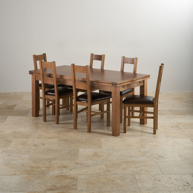 Rustic oak dining set 6ft table with 6 chairs for Oak farmhouse kitchen table and chairs
