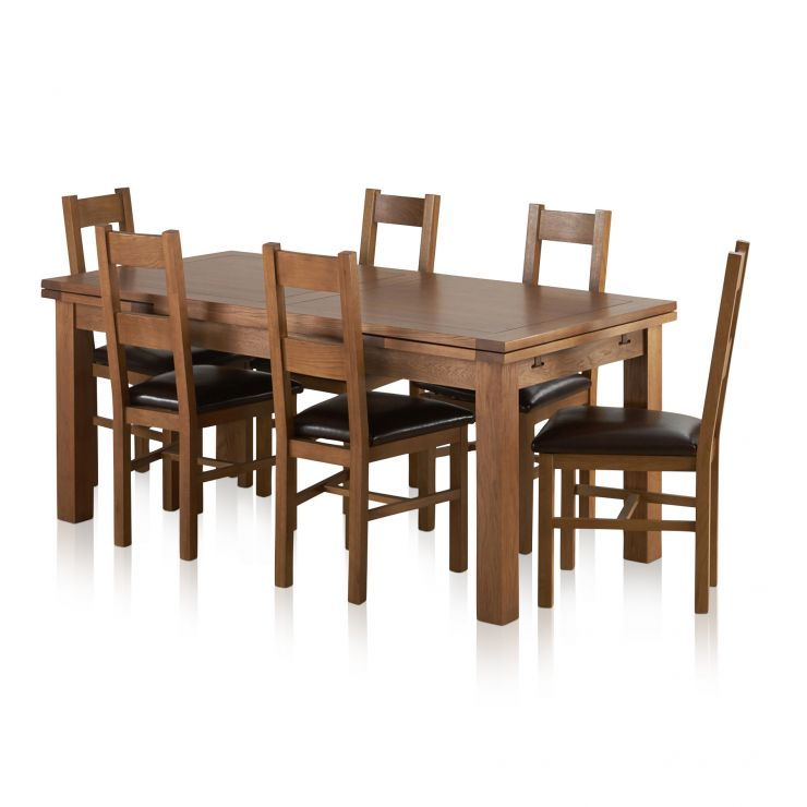 Sherwood Solid Oak Dining Set 6ft Extending Table With 6 Farmhouse And Brown Leather Chairs