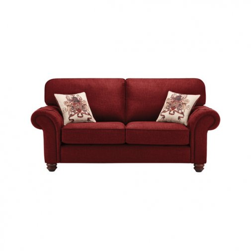 Sandringham 2 Seater High Back Sofa in Red with Red Scatters