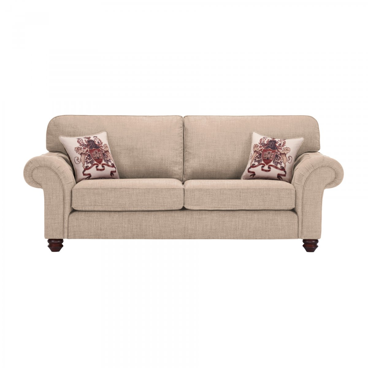 Sandringham 3 Seater High Back Sofa In Beige Beige Scatter