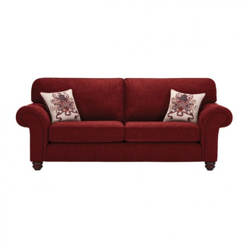 Sandringham 3 Seater High Back Sofa in Red with Red Scatters