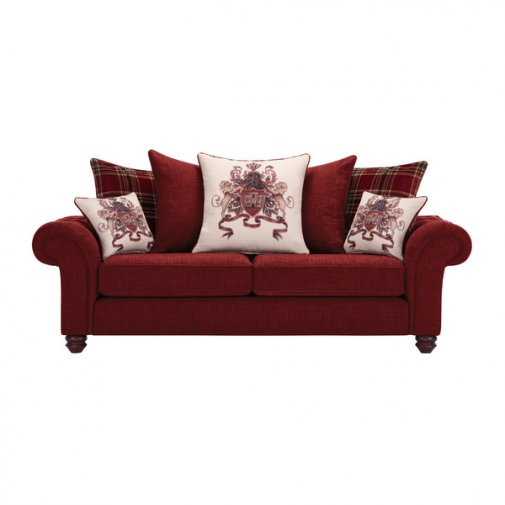 Sandringham 3 Seater Pillow Back Sofa in Red with Red Scatters