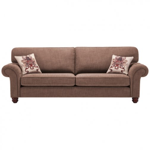 Sandringham 4 Seater High Back Sofa in Coffee with Dark Brown Scatter