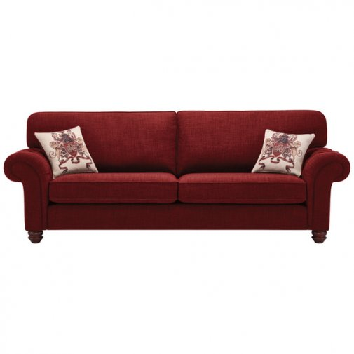 Sandringham 4 Seater High Back Sofa in Red with Red Scatter