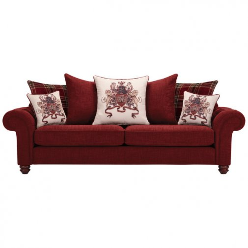 Sandringham 4 Seater Pillow Back Sofa in Red with Red Scatters