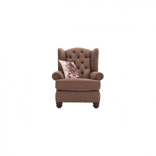 Sandringham Wing Chair in Coffee with Dark Brown Scatter