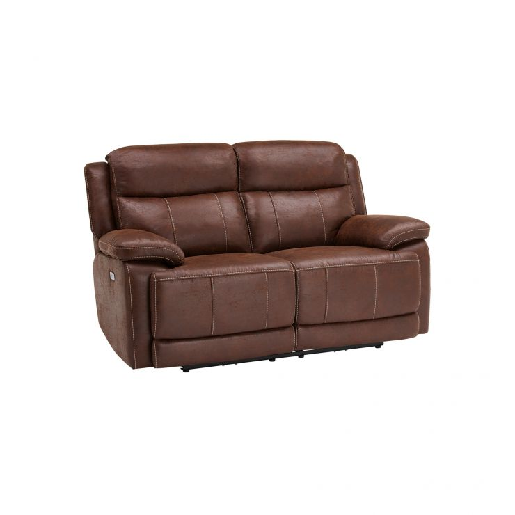 Santiago 2 Seater Electric Recliner Sofa - Dark Brown Fabric