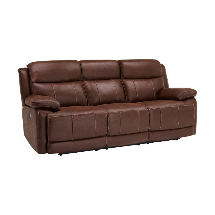 Sensational Santiago 3 Seater Electric Recliner Sofa Dark Brown Fabric Download Free Architecture Designs Grimeyleaguecom