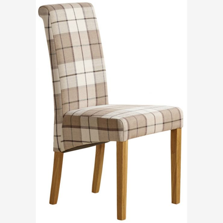 Scroll Back Chair With Solid Oak Legs Check Brown Fabric