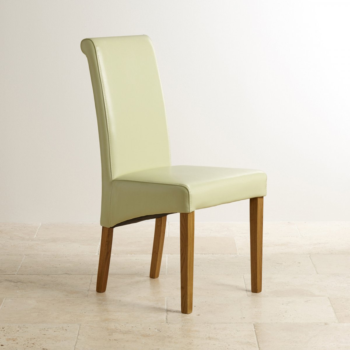 Cream Leather Dining Chair With Scroll Back And Oak Legs