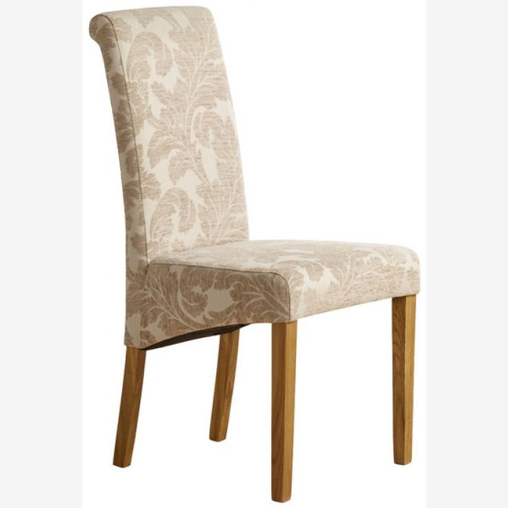 online store 996e1 bdca1 Scroll Back Patterned Beige Fabric Chair with Solid Oak Legs