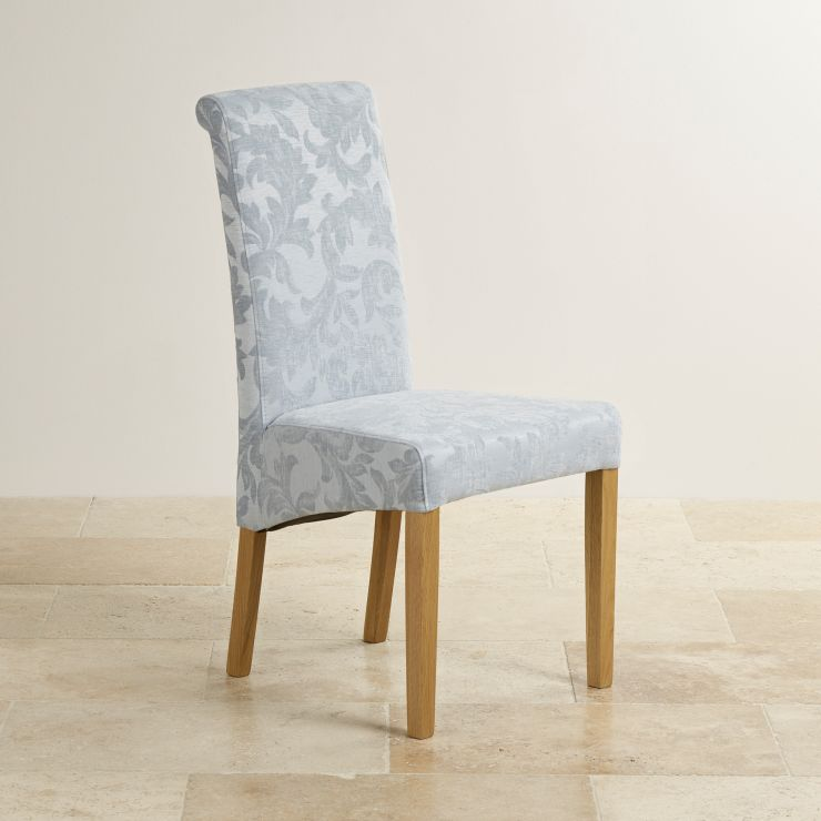 Scroll Back Fabric Chair Duck Egg With Solid Oak Legs