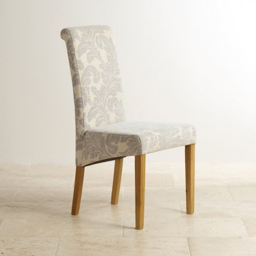 Scroll Back Patterned Grey Fabric Chair with Solid Oak Legs